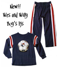Soccer THemed Wes and Willy Soccer PaJamas