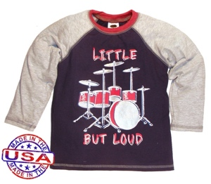 boy's raglan shirt with drum set graphic