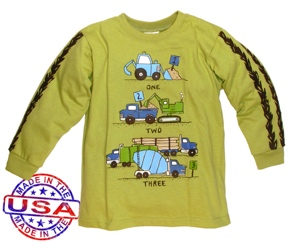 boys long sleeve shirt with trucks design