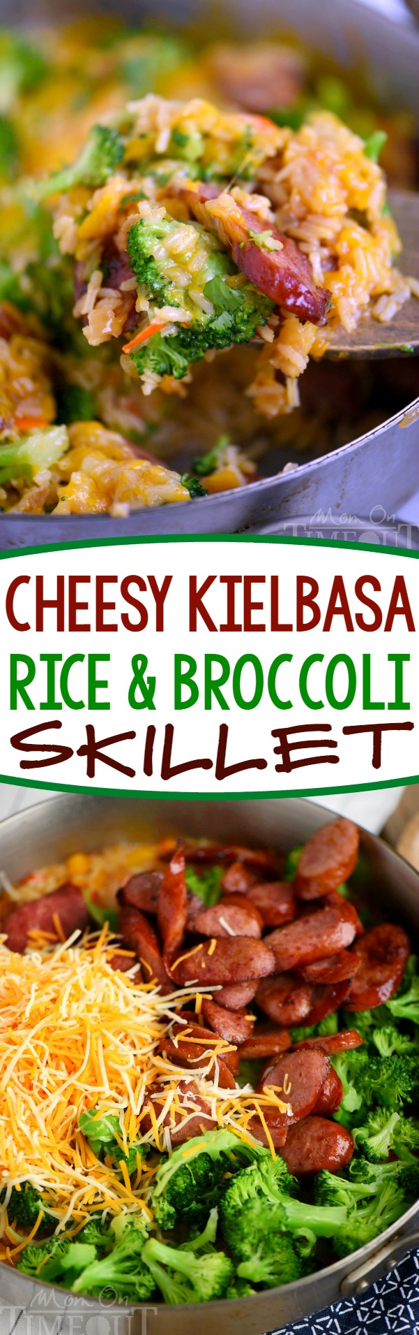easy dinner cheesy-kielbasa-rice-broccoli-skillet-collage